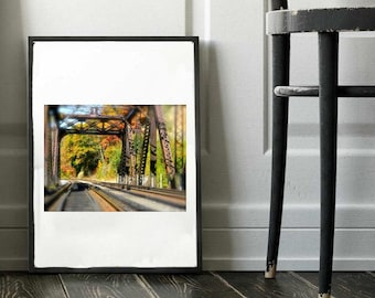 Railroad Bridge Photo, Architectural Photography, Railroad Tracks, Landscape Wall Art, Railroad Photo, Vinyl Wall Decal, Bridge Photography