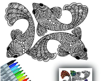 Wall Decal, Fish Decal, Color My Wall Decal, Removable Wall Art, Do-it-Yourself Decal, Vinyl Decal, Adult Coloring Decal, by Abby Smith