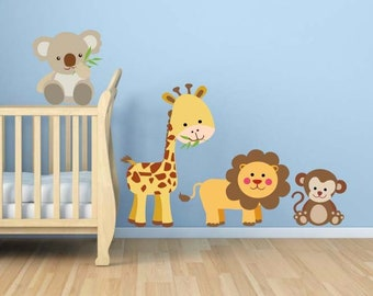 Jungle Animal Wall Decal, Nursery Wall Decal, Animal Wall Decal, Baby's Room Decor, Vinyl Wall Decals, Home Decor, Art, Baby Animal Decals