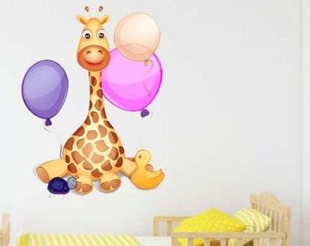 Giraffe Nursery Decal, Baby Giraffe Decal, Nursery Decor, Cartoon Wall Art, Vinyl Decals, Baby Shower Gift, Baby Girl Decals, Baby Boy Decal
