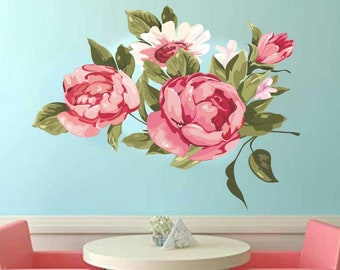 Vintage Rose Wall Decal, Vinyl Wall Decal, Floral Decal, Vintage Flowers, Home Decor, Wall Decal, Pink Flower Decal, Girl's Bedroom Decal
