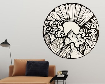 Doodle Wall Decal, Line Art Decal, Artwork by Abby Smith, Art Print, Vinyl Wall Decal, Mountain Drawing Decal, Pen & Ink Decal, Home Decor