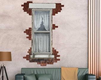 Brick Window Decal, Vinyl Wall Decal, Old Window Art, Home Decor, Vintage Brick Texture, Vinyl Graphics, Rustic Window Decal, Wall Art,