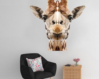 Giraffe Wall Decal, Giraffe Sticker, Polygonal Giraffe, Geometric Design, Vinyl Wall Sticker, Polygonal Art, Home Decor, Nursery Decal, Art