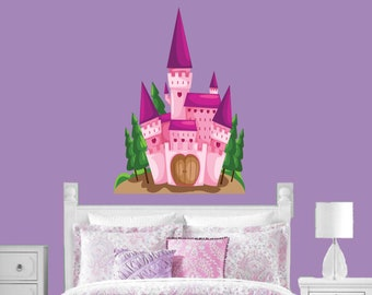 Princess Castle Wall Decal, Girls Bedroom Decal, Wall Decal, Vinyl Wall Decal, Wall Stickers, Personalized Graphics, Pink Castle Decal