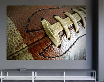 Football Wall Decal, Football Photography, Vinyl Decal, Football Decor, Sports Decor, Football Mural, Macro Photography, Removable Decal