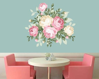 Floral Wall Decal, Rose Wall Decal, Home Decor, Rose Decor, Vinyl Wall Decal, Mint Green, Coral Rose, Vector Art, Dining Area Wall Art, Art