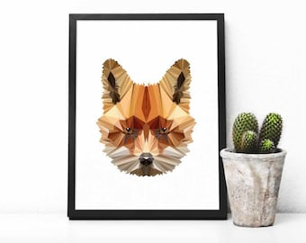 Fox Illustration, Polygonal Fox, Abstract Print, Fox Art, Symmetric Design, Modern Art, Infinite Graphics, Design by Abby Smith, Geometric