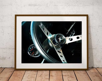 Vintage Mustang Print, Ford Photography, Ford Mustang, Mustang Steering Wheel, Vintage Car Photo, Photo by Abby Smith, Home Decor, Wall Art