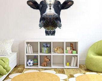 Cow Wall Decal, Low Poly Cow, Cow Sticker, Vinyl Wall Decal, Modern Art Design, Polygonal Design, Geometric Cow, Wall Sticker, Farm Animal