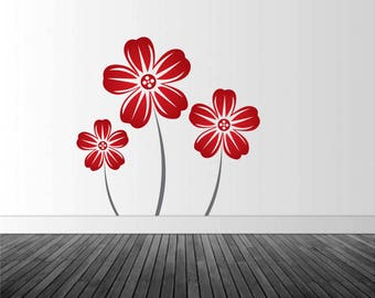 Floral Wall Decal, Red Flower Decal, Home Interior Decal, Vinyl Wall Graphics, Infinite Graphics, Removable Decal, Wall Stickers