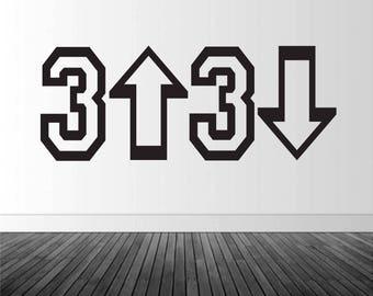 Baseball Decor, Baseball Decal, 3 Up 3 Down Decal, Vinyl Wall Decal, Silhouette Decal, Baseball Wall Art, Infinite Graphics, Home Decor