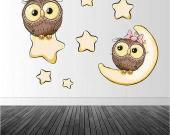 Nursery Stickers, Baby Owl Decals, Vinyl Wall Decal, Vinyl Graphics, Wall Stickers, Owls, Infinite Graphics, Baby's Room Decor, Cartoon Owls