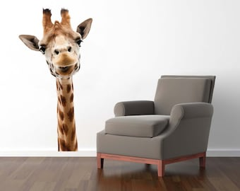 Giraffe Wall Decal, Zoo Animal Decal, Giraffe Photography, Vinyl Wall Decal, Giraffe Head Decal, Giraffe Home Decor, Nursery Giraffe, Decals