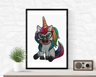 Unicorn Illustration, Unicorn Print, Watercolor Painting, Painting by Abby Smith, Cartoon Unicorn, Rainbow Unicorn, Girl's Bedroom Decor