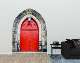 Red Door Decal, Vintage Red Door, Vinyl Wall Decal, Renaissance Decor, Stone Entrance Door, Wall Sticker, Home Decor, Castle Door Decal, Art