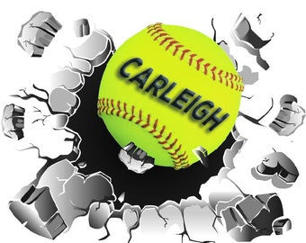 Softball Wall Decal, Busting Wall Decal, Sports Ball Decal, Girl's Softball, Vinyl Wall Graphics, Softball Graphics, Sports Decor, Wall Art