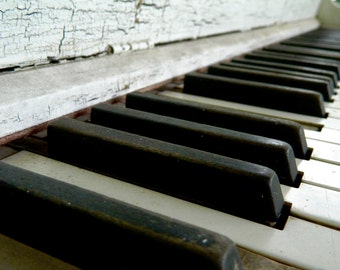 Vintage Piano Photography, Abandoned Piano, Ivory Keys, Musical Photography, Macro Photography, Photo by Abby Smith, Home Decor, Piano Art