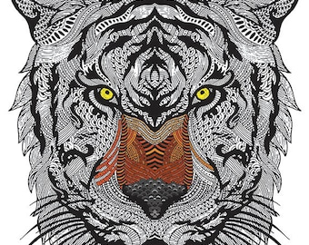 Tiger Wall Decal, De-Stress Coloring, Vinyl Wall Decal, Wall Sticker, Vinyl Wall Graphics, Tiger Coloring Page, Removable Wall Decal