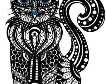 Cat Wall Decal, Color My Wall Decal, Do-it-Yourself Wall Art, Vinyl Wall Decal, Adult Coloring, Cat Decal, by Abby Smith