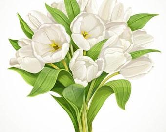 Floral Wall Decal, Tulip Wall Decor, White Tulips, Vinyl Wall Decal, Vinyl Wall Graphic, Floral Wall Sticker, Infinite Graphics, White Tulip