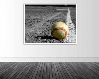 Baseball Decal, Spot Color Baseball, Vinyl Wall Decal, Baseball Decor, Macro Baseball Photo, Sports Decor, Wall Sticker, Photo by Abby Smith