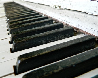 Piano Keys Photography, Rustic Photography, Musical Photography, Photo by Abby Smith, Vintage Piano Photo, Home Decor, Piano Art, Wall Art