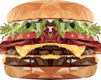 Cheeseburger Decal, Symmetrical Art, Geometric Decal, Design by Abby Smith, Infinite Graphics, Wall Graphics, Food Art, Polygonal Art,  Food