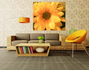 Daisy Wall Decal, Floral Wall Decal, Yellow Floral Wall Mural, Home Decor, Vinyl Wall Decal, Removable Wall Sticker, Black Eyed Susan Flower