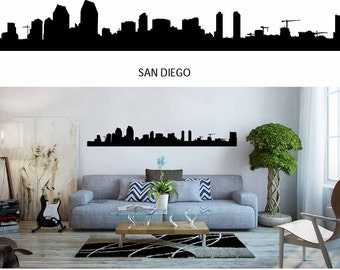 San Diego, City Skyline Decal, Skyline Silhouette, Vinyl Wall Decals, City Wall Decals, Detroit, NYC, Miami Skyline, Infinite Graphics, Art