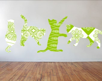 Cat Wall Decals, Set of 4 Cats, Cat Stickers, Home Decor, Vinyl Wall Graphics, Infinite Graphics, Cat Silhouette, Pattern Silhouettes, Art