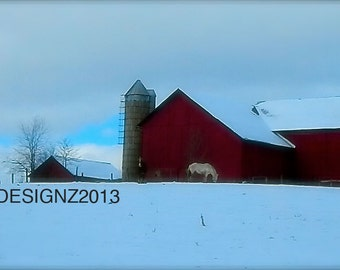 Red Barn Photography, Landscape Art, Home Decor, Winter Scene Photo, Photo by Abby Smith, Amish Farm Photography, Amish Barn, Amish Theme