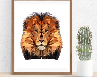 Lion Polygonal Art, Abstract Illustration, Lion Art, Symmetric Design, Modern Art, Infinite Graphics, Design by Abby Smith, Geometric Art