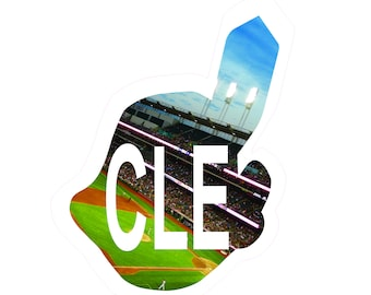 Indians Baseball Decal, Chief Wahoo Decal, CLE, Cleveland Sports Decal, Progressive Field Decal, Photo by Abby Smith, Infinite Graphics, Art