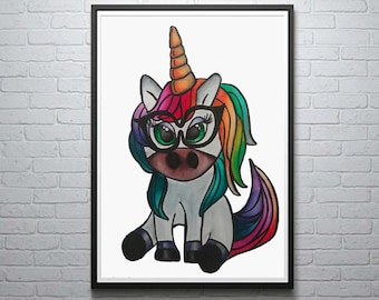 Unicorn Illustration, Unicorn Print, Watercolor Painting, Painting by Abby Smith, Cartoon Unicorn, Rainbow Unicorn, Girl's Bedroom Decor