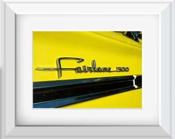 1964 Yellow Ford Fairlane, Photography, Automotive Photo, Ford Photography, Vintage Car Photo, Ford Fairlane Photo, Vintage Fairlane, Auto