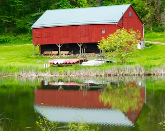 Red Barn Photography, Barn Photo, Reflections in Water, Photography, Home Decor, Wall Art, Barn Art, Photo by Abby Smith, Infinite Graphics