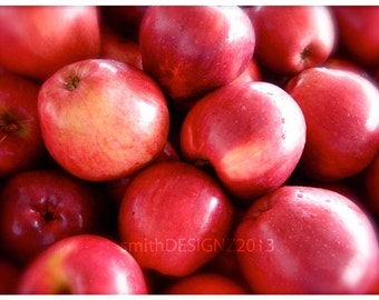 Apple Photography, Apple Harvest Photo, Red Apples, Red Delicious Apple Harvest, Photography, Kitchen Decor, by Abby Smith