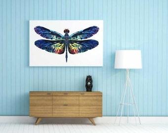 Dragonfly, Polygonal Art, Abstract Print, Low Poly Art, Symmetric Design, Modern Art, Dragonfly Poster, Vinyl Print, Geometric Art, Wall Art