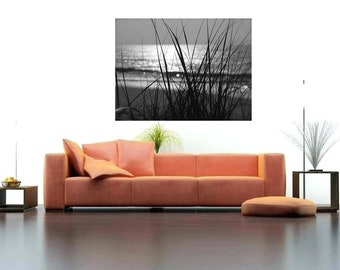 Black & White Wall Decal, Ocean Scape Decal, Coastal Home Decor, Sunrise Wall Decal, Ocean Landscape, Beach Photography, Vinyl Wall Decal,