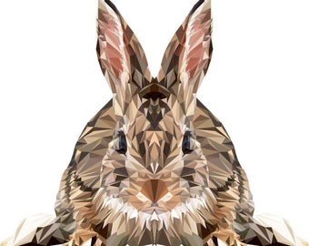 Rabbit Print, Polygonal Art, Abstract Print, Rabbit Art, Symmetric Design, Modern Art, Infinite Graphics, by Abby Smith, Geometric Art