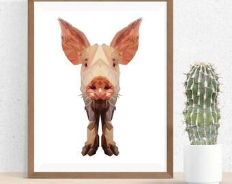 Pig Art Print, Polygonal Art, Abstract Print, Pig Art, Symmetric Design, Modern Art, Infinite Graphics, Design by Abby Smith, Geometric Art