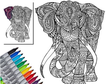 Elephant Wall Decal, Creative Coloring, Color My Wall, Adult Coloring Vinyl Decal, Home Decor, Wall Art, Do-it-yourself Decal, by Abby Smith