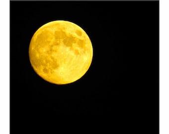 Moon Photography, Full Moon Photography, Harvest Moon, Yellow Moon, Macro Moon Photo, by Abby Smith