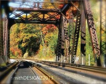 Railroad Bridge Photo, Architectural Photography, Railroad Tracks, Landscape Wall Art, Railroad Photo, Vinyl Wall Decal, Bridge Photography