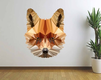 Fox Illustration, Fox Wall Decal, Vinyl Wall Decal, Polygonal Fox, Low Poly Fox, Infinite Graphics, Wall Graphics, Home Decor, Kid's Room