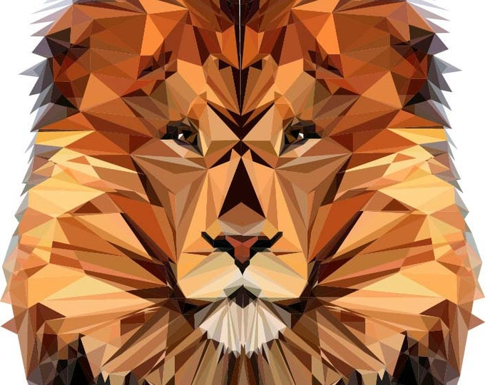 Featured listing image: Lion Polygonal Art, Abstract Illustration, Lion Art, Symmetric Design, Modern Art, Infinite Graphics, Design by Abby Smith, Geometric Art