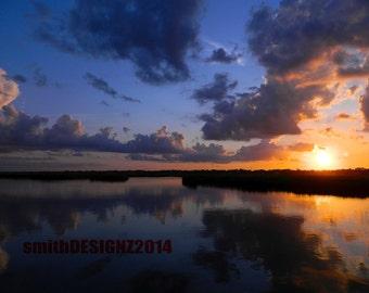 Sunset Photography, Sunset Wall Decal, Sunset Art, Beach House Decor, Vinyl Wall Decal, by Abby Smith