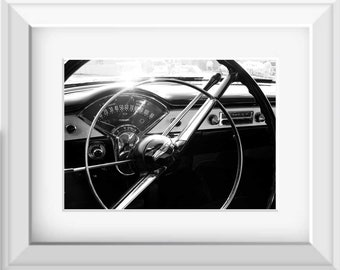 Vintage Car Photo, Chevy Bel Air, Black & White Photography, Chevrolet Photography,  Photo by Abby Smith, Man Cave, Automotive Photo