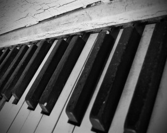 Vintage Piano, Photography, Musical Decor, Girl's Bedroom Decor, Photo by Abby Smith, Rustic Piano Keys, Infinite Graphics, Home Decor